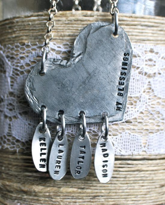 hand stamped necklace...might have finally found the inspiration for a gift for my MIL...gonna need to call RocketMom Jewelry soon :-)