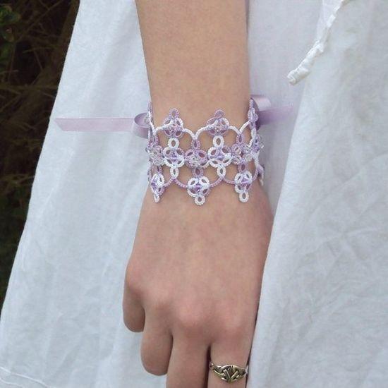Fantasy Bridal Lace Cuff in Tatting  Guinevere by TataniaRosa