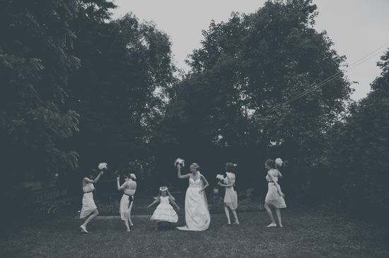 bridesmaids dancing wedding photography