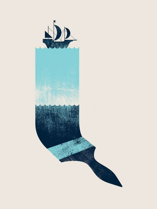 Minimal graphic design - boat, water, paintbrush.