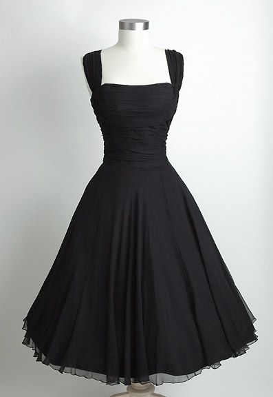 HEMLOCK VINTAGE CLOTHING : Saks Fifth Avenue Ruched Chiffon 1950's Dress