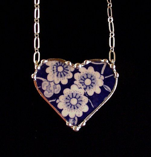 Broken china jewelry heart shaped necklace antique Calico Chintz  made from a broken plate