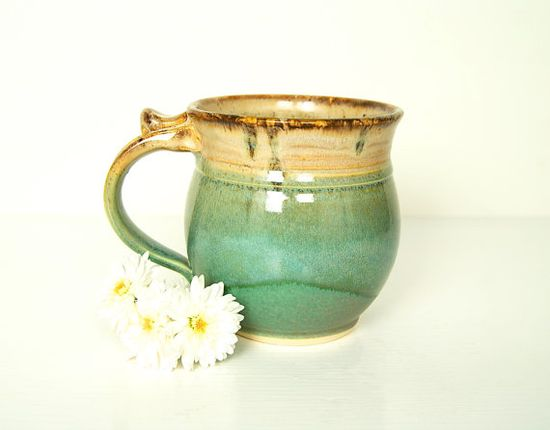 Mug Handmade Pottery  Green Brown and Cream by RiverStonePottery, $25.00