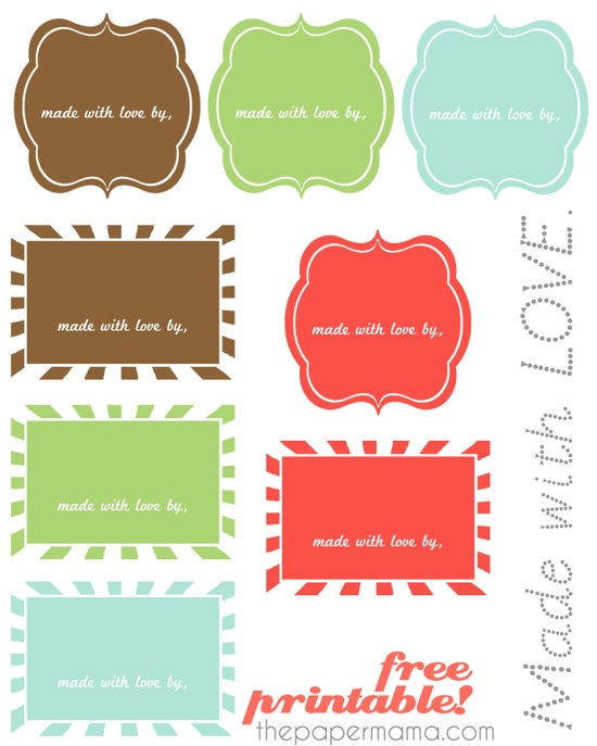 "Free ""Made with Love"" printable labels!"