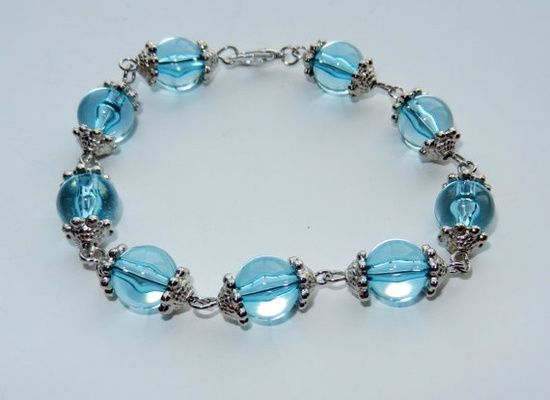 Blue and Silver Bracelet by CloudNineDesignz on Etsy, $15.00