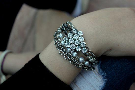 Vintage rhinestone and pearl bracelet