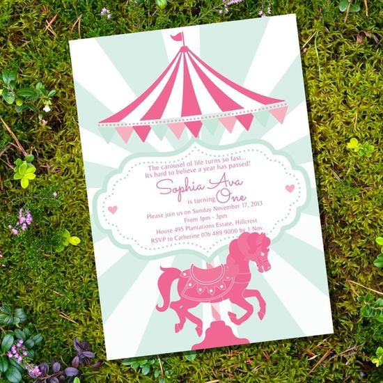 Gorgeous carousel birthday party invitation, perfect for a girl 1st birthday party! See more party ideas at CatchMyParty.com. #birthdayinvitation #girlbirthday #1stbirthday #carousel