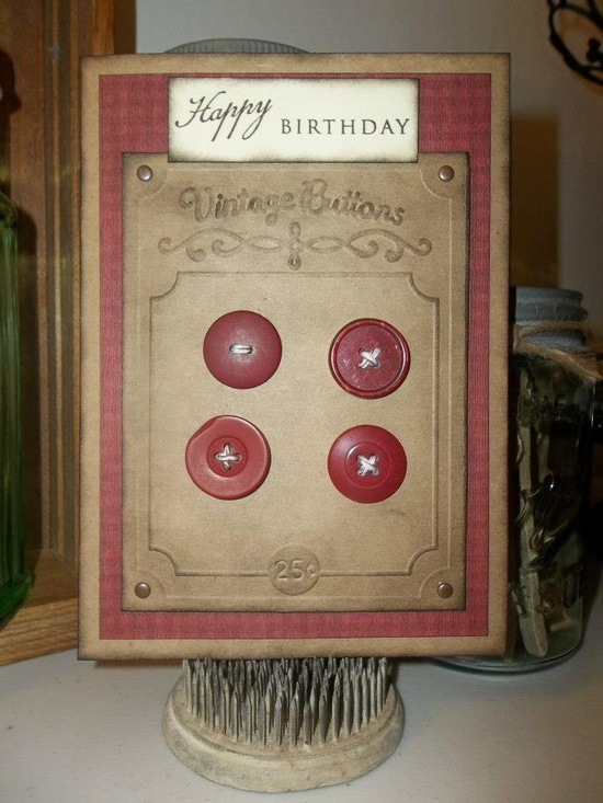 old buttons / birthday card