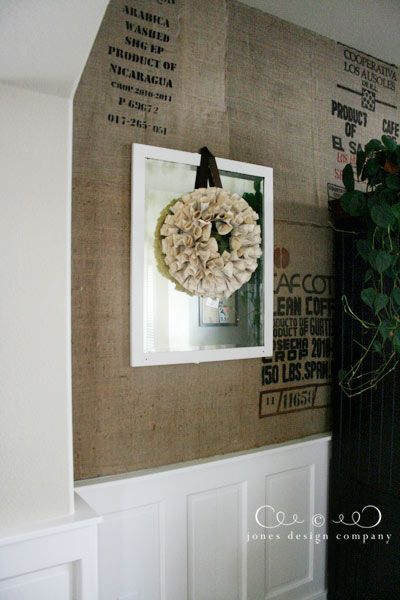 coffe bags upholstered walls.