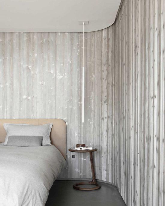 :: BEDROOMS :: DETAILS :: Photo Credit Source: © Vincent Leroux / tempsmachine, Chalet Beranger / Noé Duchaufour-Lawrance. Lovely colour palette of warm gray with white and accent of wood. #details #bedrooms