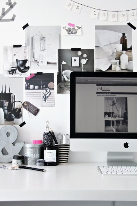 white and black, and small touches of pink ?  Perfect for my office!!  #office #workspace #design #inspiration #interior #white