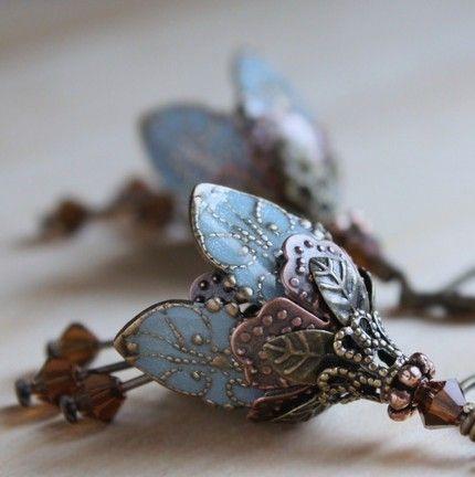 victorian blue earrings
