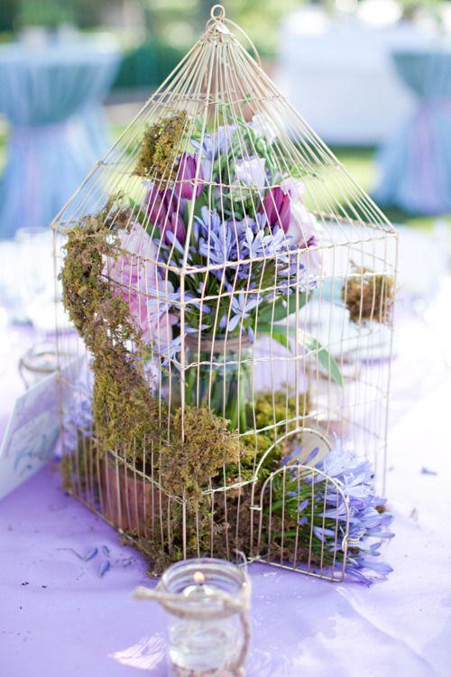 caged flower arrangement