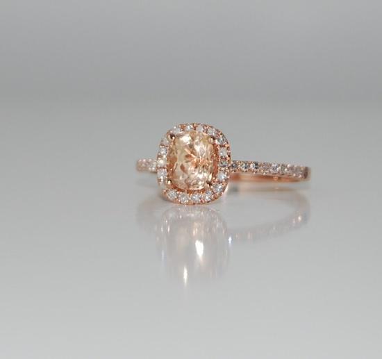 1.14ct Cushion peach champagne sapphire in 14k rose gold diamond ring