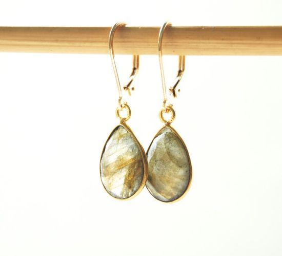 Keha earrings -  gold labradorite teardrop earrings maui, hawaii www.kealohajewelr...