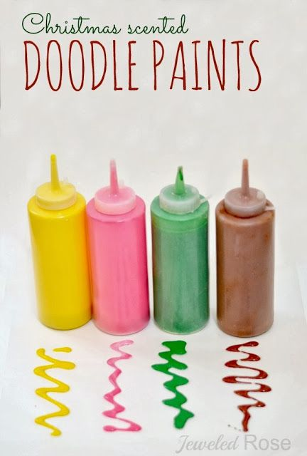 Christmas DOODLE Paints- the texture and consistency of this paint allows kids to easily draw & doodle holiday art.  It is fun to squirt and pour and can be used to make homemade window stickers, too!  Stick & re-stick for endless FUN.  {My kids LOVE this paint!}