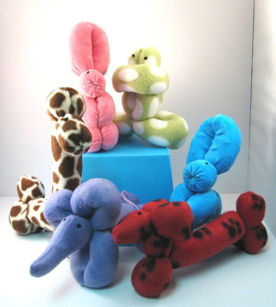 Plush Balloon Animal Party Gift Pack of 3 by 12be on Etsy, $38.00