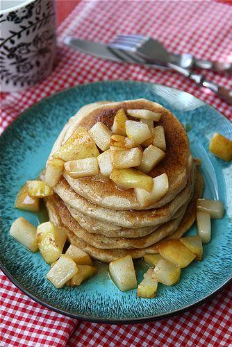 Caramel & Sea Salt Pear Pancake Recipe by Cookin' Canuck: Yum! #Pancakes #Pear #Caramel #Sea_Salt #cookincanuck