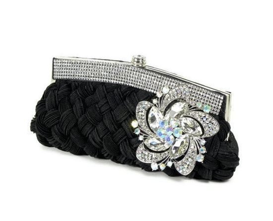 Black Clutch, Bridal Clutch, Black Rhinestone Clutch, Evening Bag, Bridesmaid Clutch with Rhinestone Trim and Flower Brooch Accent. $72.00, via Etsy.