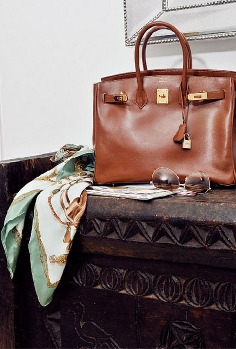 Hermes Birkin Bag and Vintage Scarf