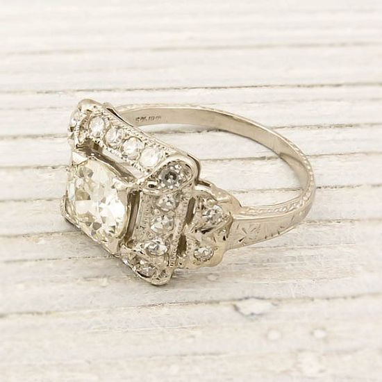 Another gorgeous ring from this seller. I really must stop looking around their shop!  Antique 91 Carat Old European Cut Diamond by ErstwhileJewelry.