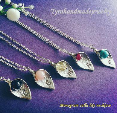 monogrammed calla lily necklaces