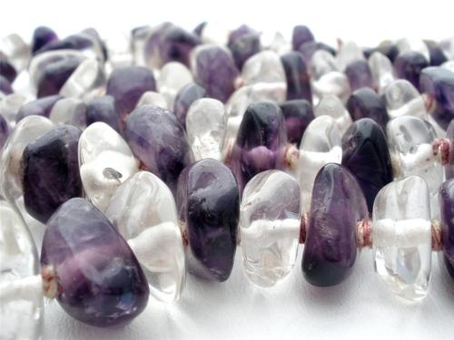 "Amethyst Clear Crystal Quartz Nugget Hand Knotted Bead 24"" Long Necklace Vintage"