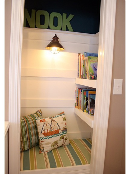 make a closet a nook! - our closet doesn't look anything like this, but this was great inspiration! WE adore our closet nook.