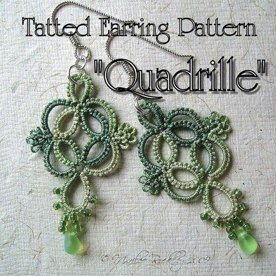 PDF Tatting Pattern Quadrille Earrings Instant by yarnplayer, $2.75