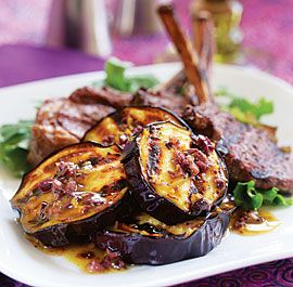 Grilled Eggplant with Olive, Orange & Anchovy Vinaigrette