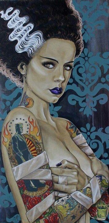 ? Tattooed Frankenstein's Bride :: Artist Unknown ?