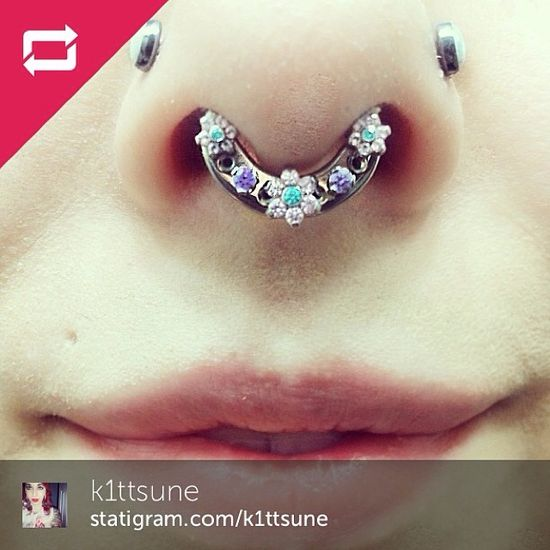 I.S. Fan Gina-Marie wore a flipped-up Septum Retainer in her piercing for the last 3 years, and now she is rocking her self-personalized I.S...