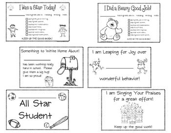 Great notes to send home with kids for positive behavior.