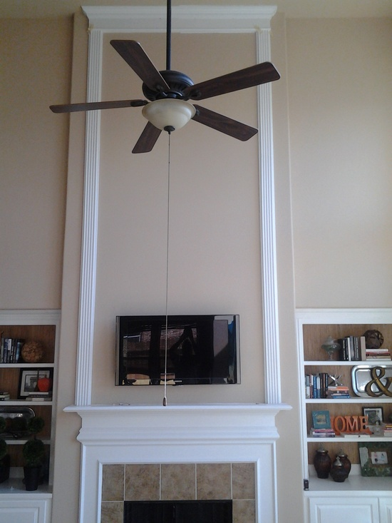 Help please with 2 story fireplace  mirror  paneling  paint  ceiling