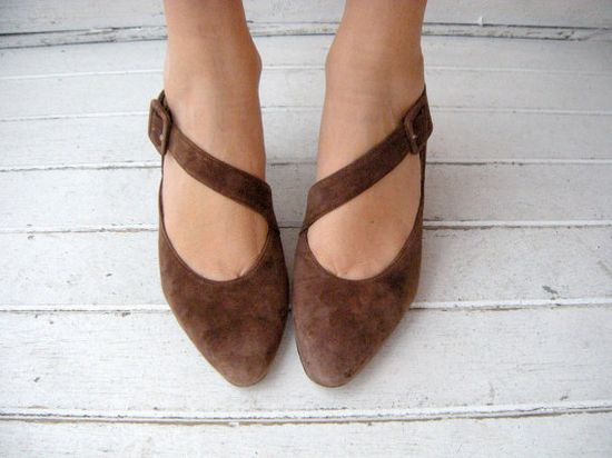 vintage brown suede crossover