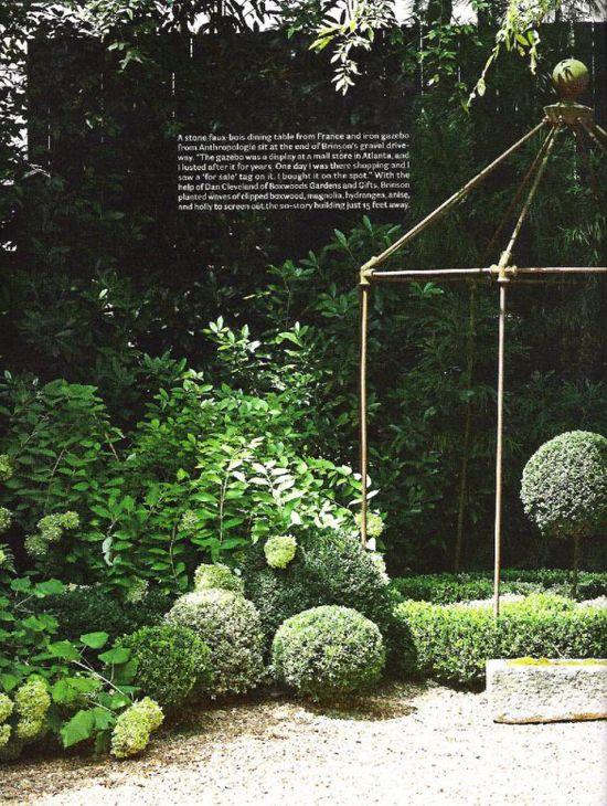 Simple Steel Gazebo, Boxwoods and Hydrangeas