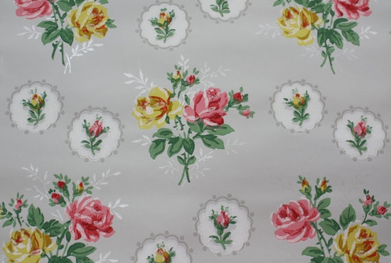 1940's Vintage Wallpaper pink and Yellow roses on gray background so pretty