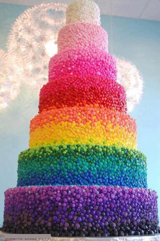 Rainbow tiered cake