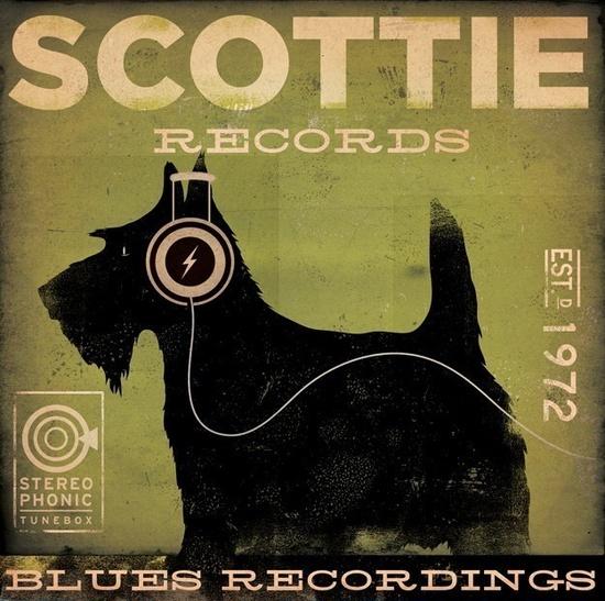 Scottie records Scottish Terrier album style graphic artwork on canvas original by gemini studio