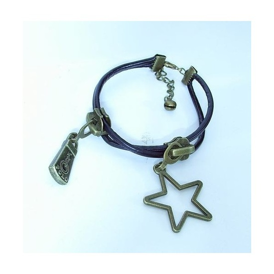 HANDMADE SUPER FAN COPPER ZIPPER HEAD STAR ANKLET OR BRACELET CREATIVE PLAYTHING UNIQUE GIFT RETRO STYLE