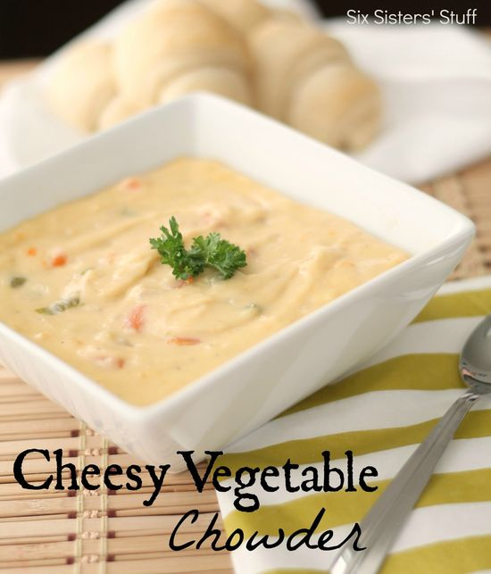 Cheesy Vegetable Chowder {Freezer Meal} Recipe from sixsistersstuff.com.  A delicious, hearty soup your family will love! #recipes #soup #chowder
