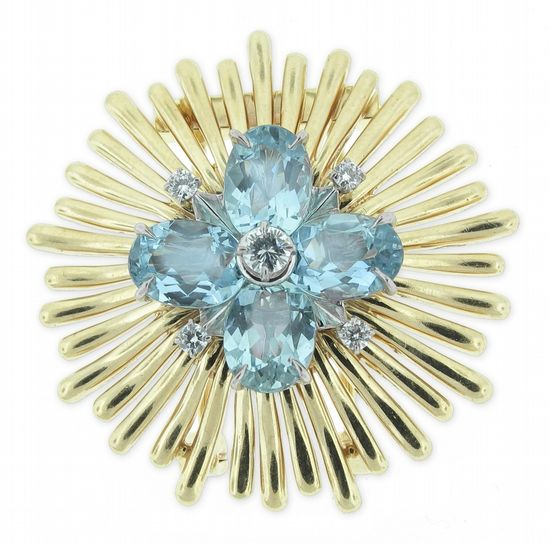 1950s, Cartier . Yellow gold, Diamonds and Aquamarines Brooch
