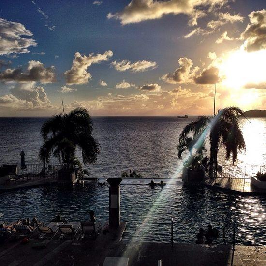 The Frenchman's Reef Marriott Beach Resort pool at sunset. #passporttoparadise