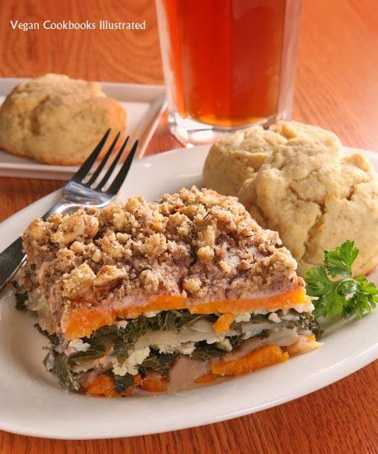 Vegan Cauliflower Comfort Bake and Savory Herb Biscuits from the cookbook One-Dish Vegan