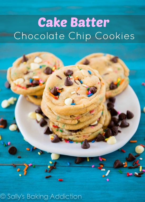 These chewy and soft-baked cookies have the flavor of chocolate chip cookies AND cake batter. They've been featured in a magazine!