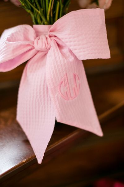 monogrammed bouquet bow