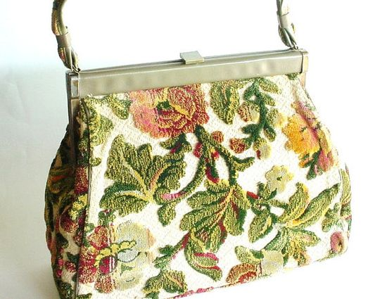 Carpet Bag 1960s Vintage Purse  Tapestry Handbag  by CraZyDreamZ, $25.00