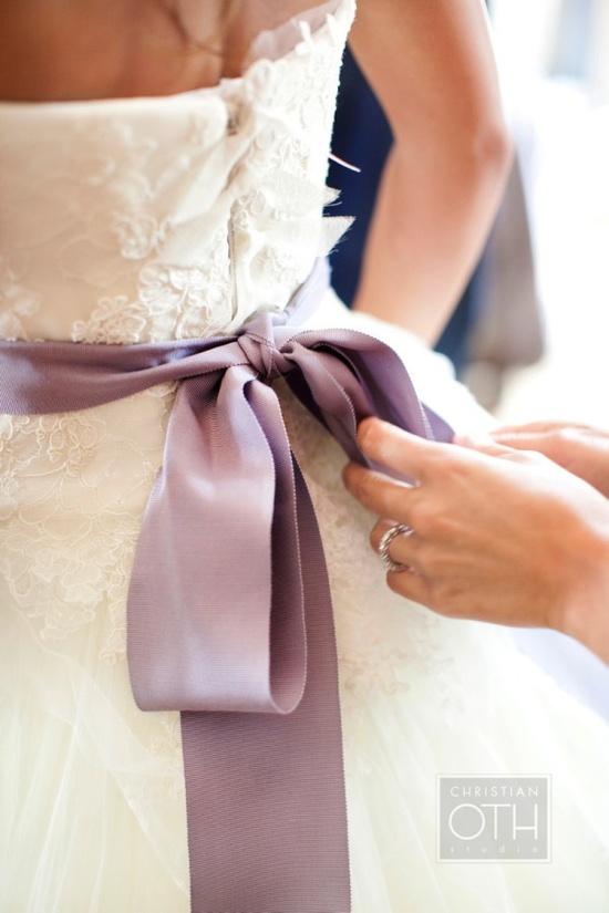 Vera Wang with lavender sash