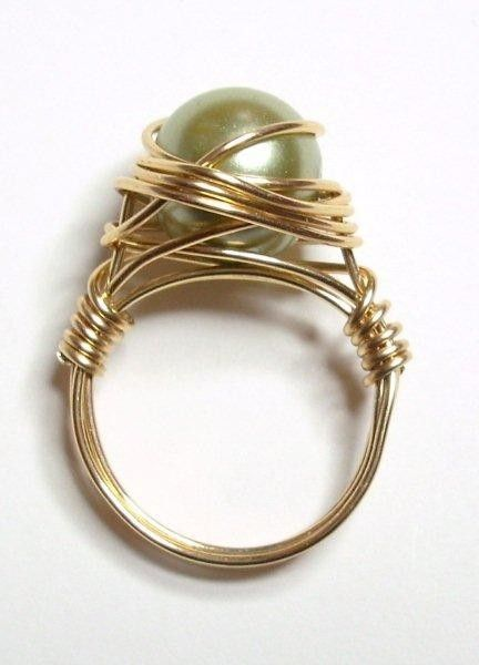 Green pearl wire wrapped ring