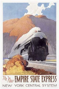 The New York Central commissioned this painting of the Empire State Express by Leslie Ragan